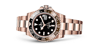 """GMT-MASTER II<br><span class=""""watch-des"""">Oyster, 40 mm, Everose gold</span>"""