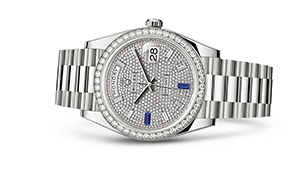 """DAY-DATE 40<br><span class=""""watch-des"""">Oyster, 40 mm, white gold and diamonds</span>"""