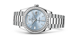 """DAY-DATE 40<br><span class=""""watch-des"""">Oyster, 40 mm, platinum and diamonds</span>"""