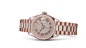 "LADY-DATEJUST 28<br><span class=""watch-des"">Oyster, 28 mm, Everose gold and diamonds</span>"