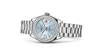 "LADY-DATEJUST 28<br><span class=""watch-des"">Oyster, 28 mm, platinum and diamonds</span>"
