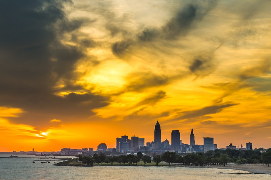 Cleveland Ohio Skyline During Sunrise