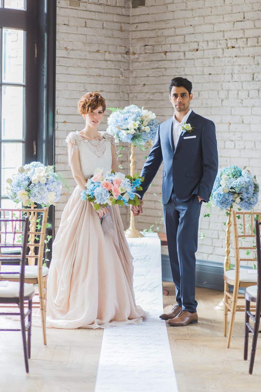 Story's Building_Toronto Ceremony Altar Light Blue Hydrangea Flower Arrangement by Bluumblvd