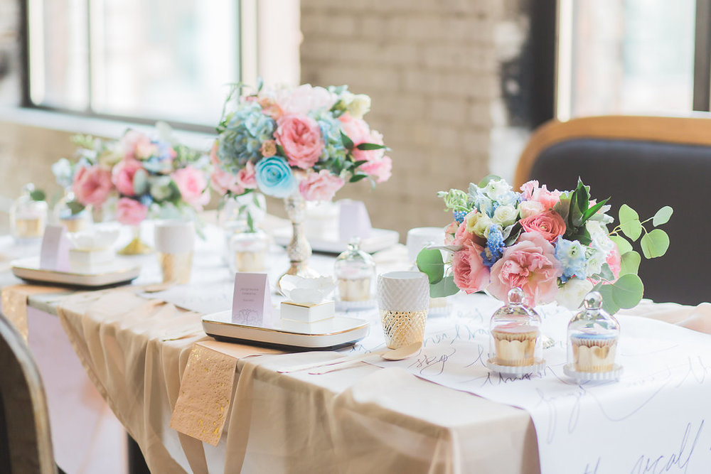 Story's Building Toronto - Organic Blush and Light Blue Compote Centerpiece by Bluumblvd