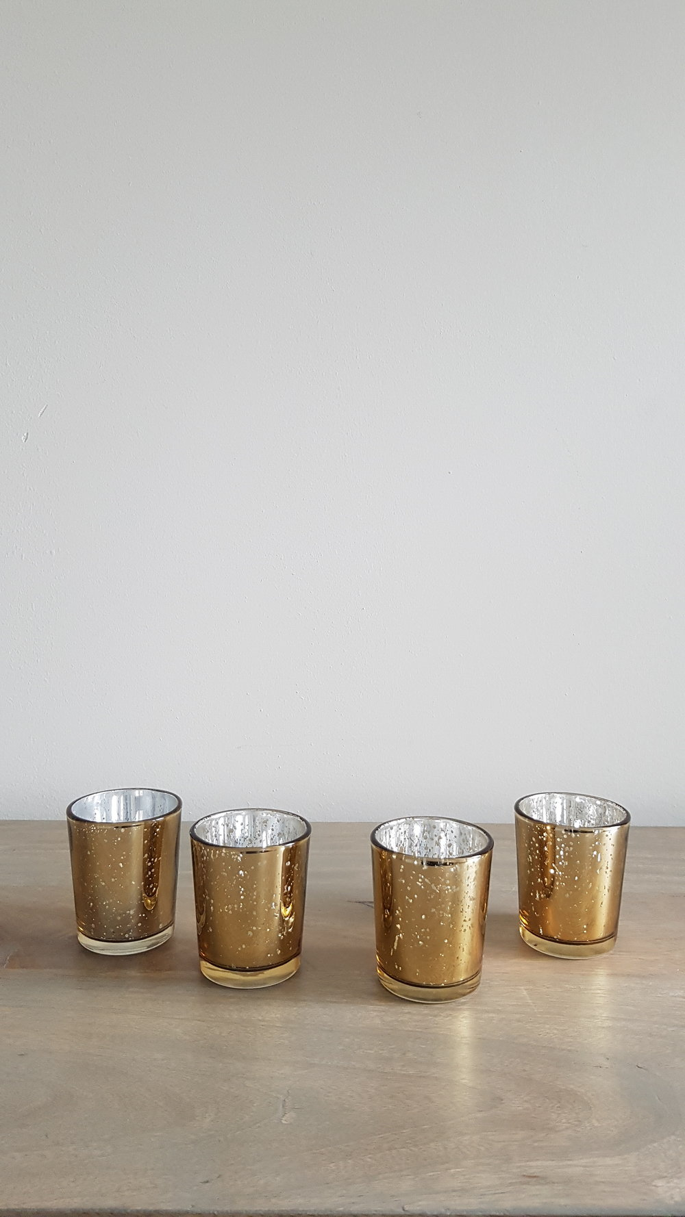 Gold Mercury Glass Votive Candleholder - $2 each   Qty: 100  .