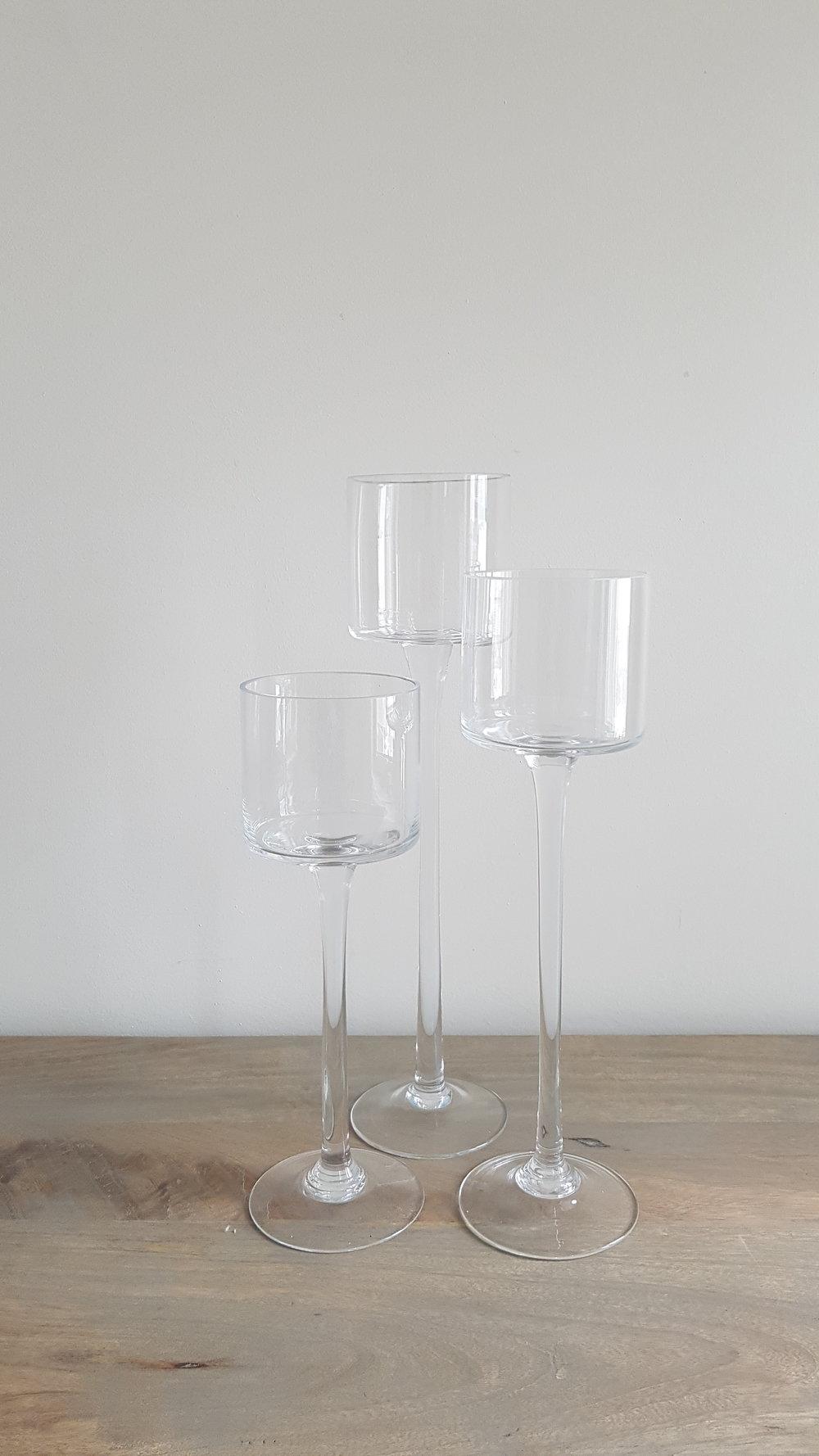 Set of 3 Stemmed Glass Candle Holder - $15 a set   Qty: 10 sets