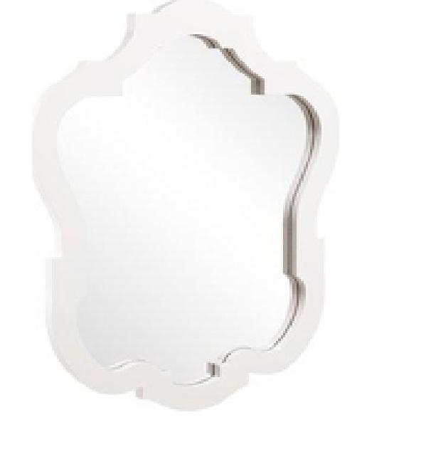 """Modern White Mirror - $100   Outside: 42"""" H x 32"""" W  Inside: 37""""H x 27"""" W"""