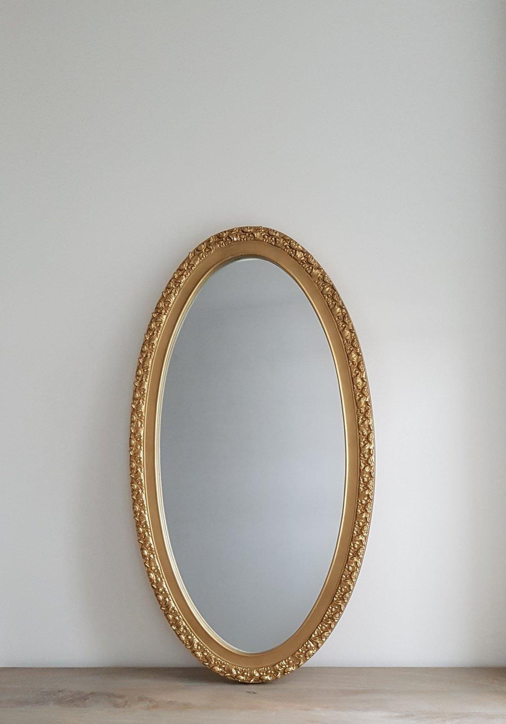 """Gold Oval Mirror - $50   Outside: 35"""" H x 19.5 W  Inside: 31"""" H x 15"""" W"""