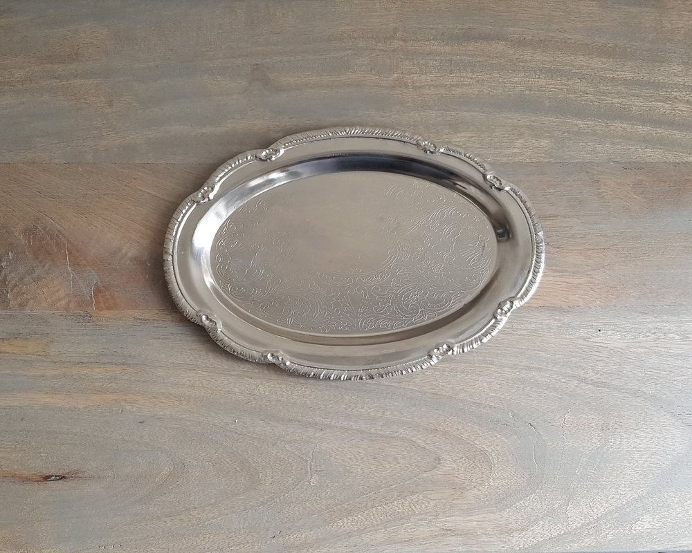"""9.5"""" Small Oval Antique Tray - $5   ."""