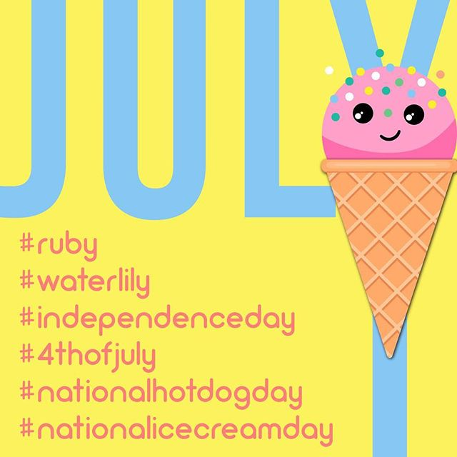 Hi July! Here's to summer fun, liberty and lots of ice cream!  #ruby #waterlily #independenceday #happyindependenceday #4thofjuly #fourthofjuly #liberty #nationalhotdogday #nationalicecreamday #icecream #hotdog #summer #summervibes #july #cookout #pool #poolparty #designer #branding #logodesigner #corporateidentity #marketing #funinthesun #funinthesun☀️ #cooloff #icecreamcolors #createkismet