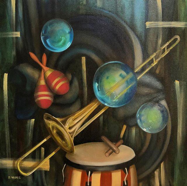 """Listo pa la Rumba"", ""Ready to Party"" 36x36, Oil on Canvas.  www.eduardovilchezpaintings.com"