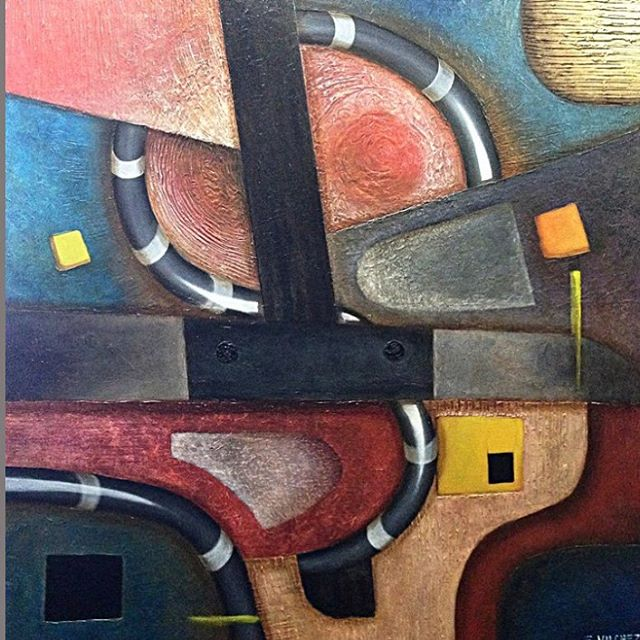 """Paisaje Industrial Oil on canvas. 36"""" x 36"""" Available. Price given upon request"""
