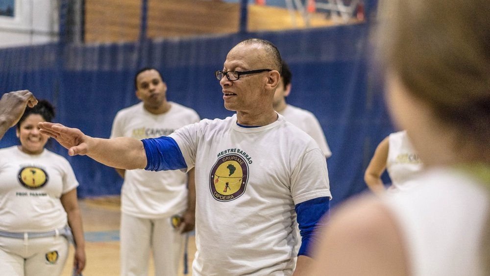 Contra-Mestre Camara leading a workshop in a capoeira event in Mississauga. ON, Canada