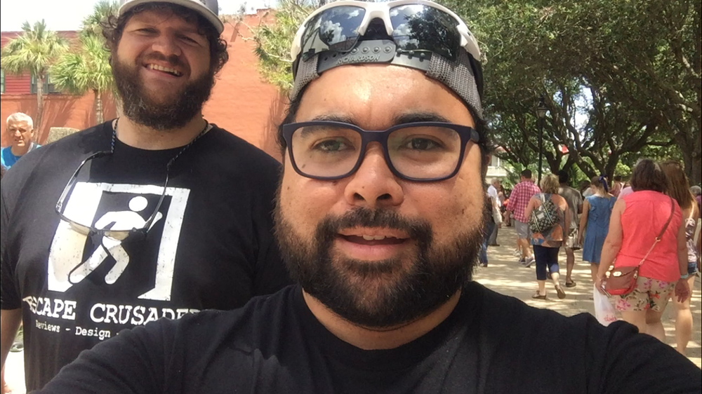 Dan and Sean walking around St. Augustine FL before they go to  Escape U .  Check out  OUR REVIEW FOR ESCAPE U HERE
