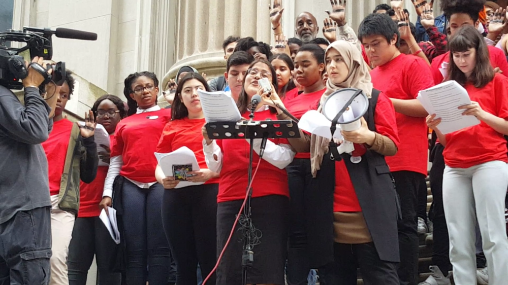 Teens Take Charge leader Dulce Marquez speaks at the #StillNotEqual press conference on the steps of Tweed Courthouse.