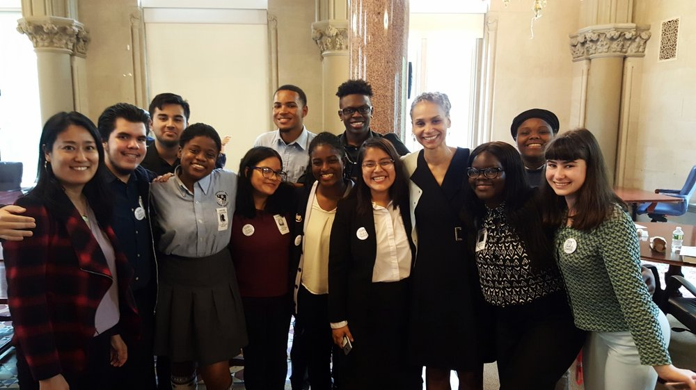 Teens Take Charge members were joined by lots of adult policymakers, including professors Amy Hsin (left) and Maya Wiley, two members of the School Diversity Advisory Group's executive committee.