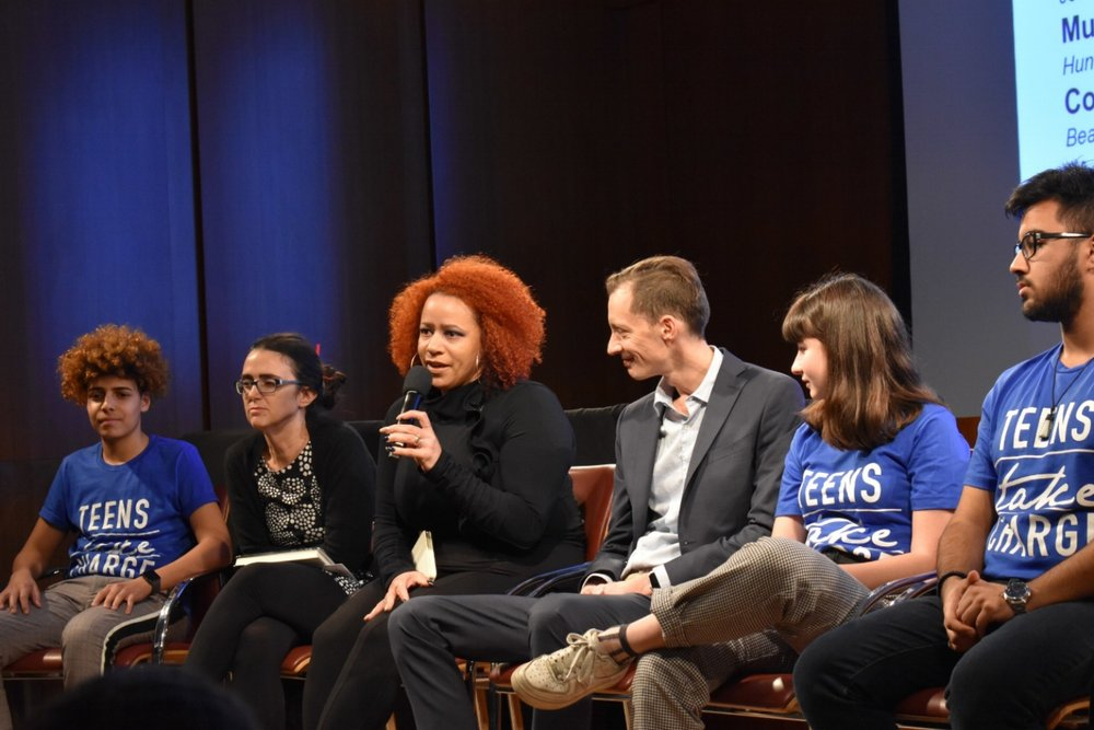 New York Times investigative journalist Nikole Hannah-Jones shares her thoughts about school segregation in New York City.   Left to Right:    Yousof Abdelreheem, Dr. Jeanne Theoharis, Hannah-Jones, Lazar Treschan, Coco Rhum, Muhammad Deen.  Photo by Julian Giordano