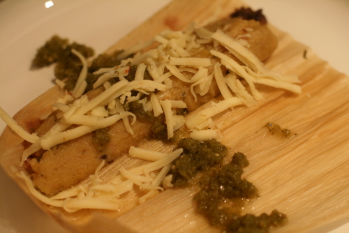 The great tamale makeover: Mashed plantains replace traditionally high-fat tamale dough to delicious results.  (image T. Freuman)