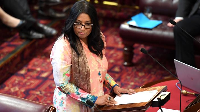 Greens MP Dr Mehreen Faruqi speaks before a vote on the NSW bill to decriminalise abortion in the Legislative Council at the NSW Parliament House in Sydney (AAP)