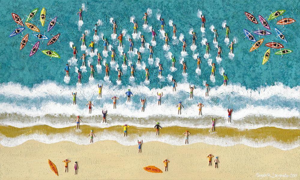 The Great Aussie Swim 91cm x 152cm Mixed Media
