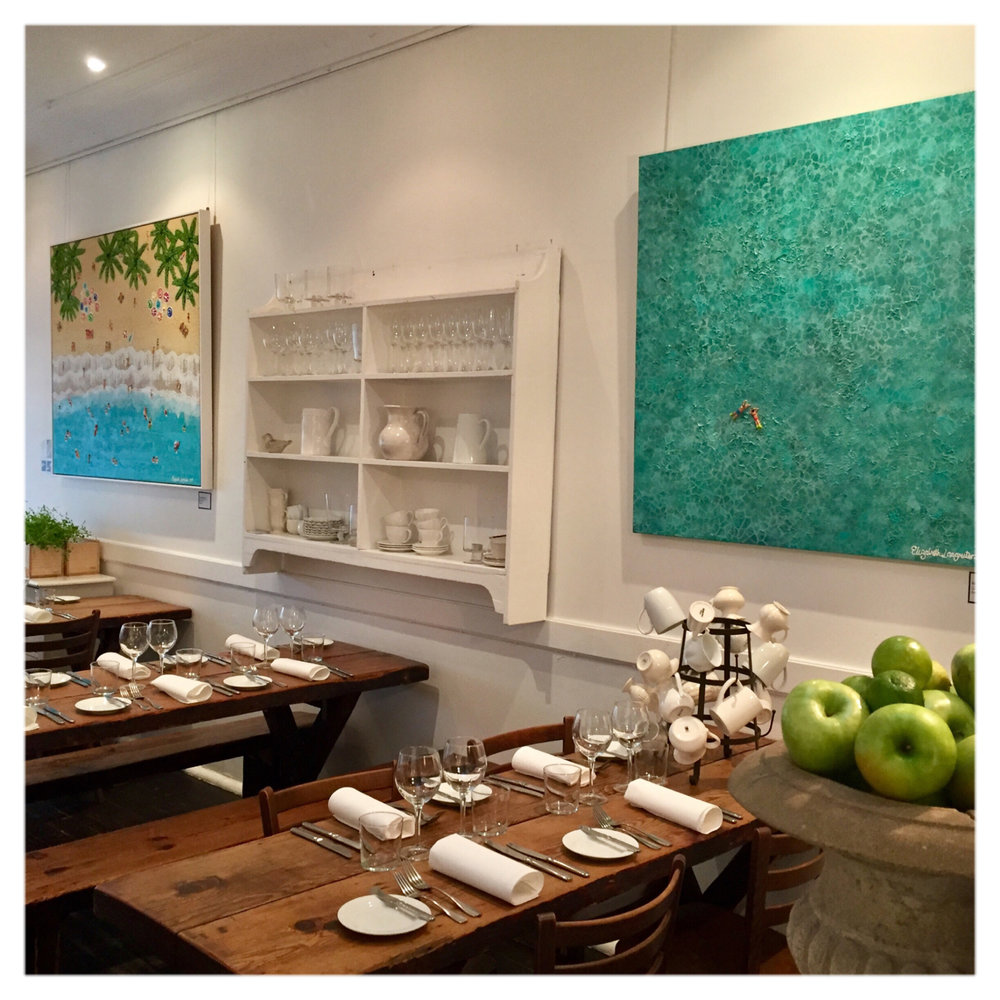 Two of my latest paintings Paradise Beach 152cm x 122cm Custom Framed and Bliss 111cm x 111cm