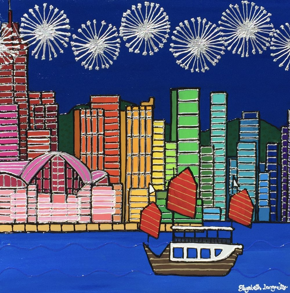 Hong Kong Fireworks - 61cm x 61cm Mixed Media on Canvas Custom FramedA beautiful view of the vibrant Hong Kong Harbour. This painting is created with beautiful colours and interesting texture.For all enquiries please use the contact form below.
