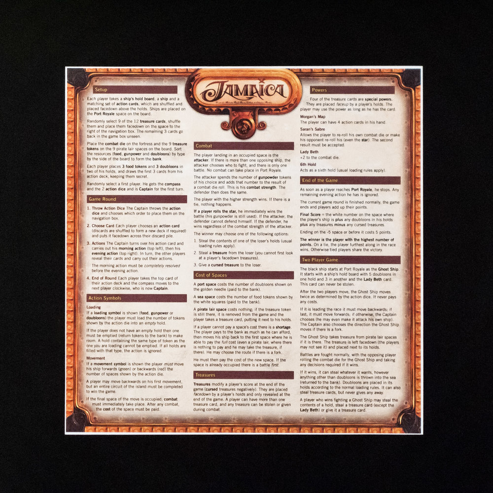 Printed rules summary for Jamaica designed by Universal Head. The rulebook (if you can call it that) for Jamaica is a bit unwieldy, so this is a must-get.