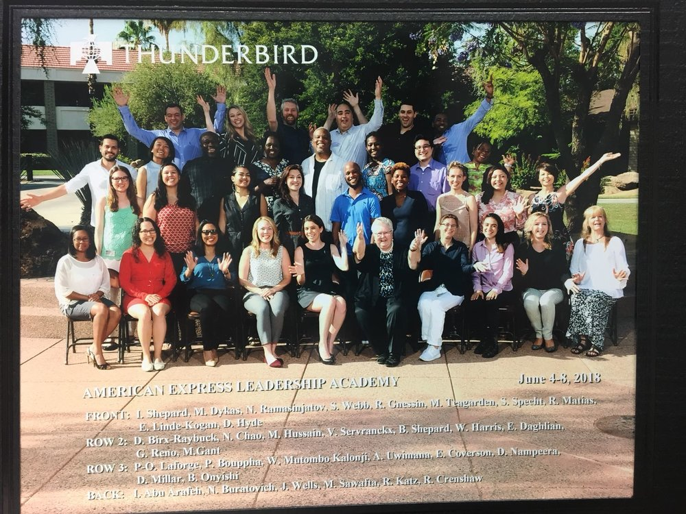 The 2018 Graduating class with of the AMEX Leadership Academy with Thunderbird School of Global Management in Phoenix AZ.