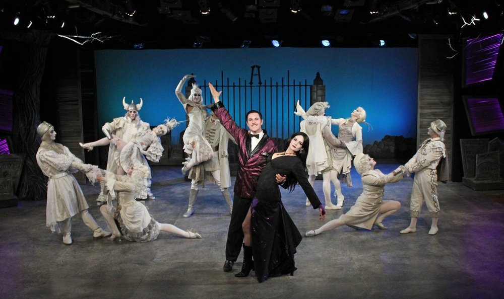 As Morticia in The Addams Family. With Jimmy Johansmeyer and Ensemble. Cortland Repertory Theater