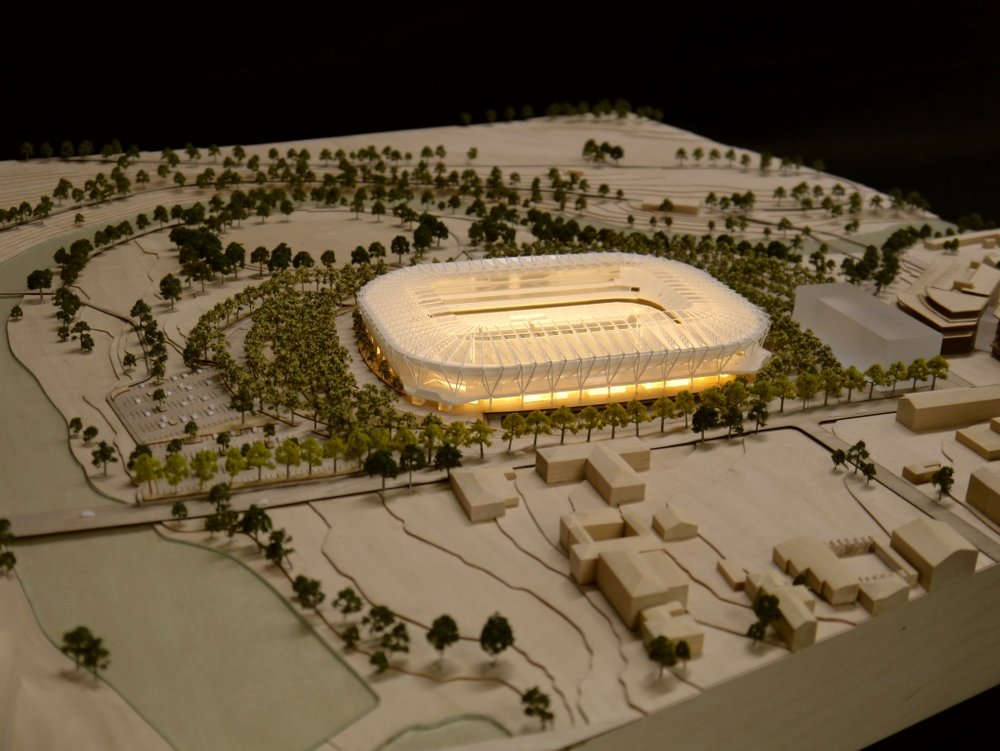 Parramatta stadium timber model by Porter Models