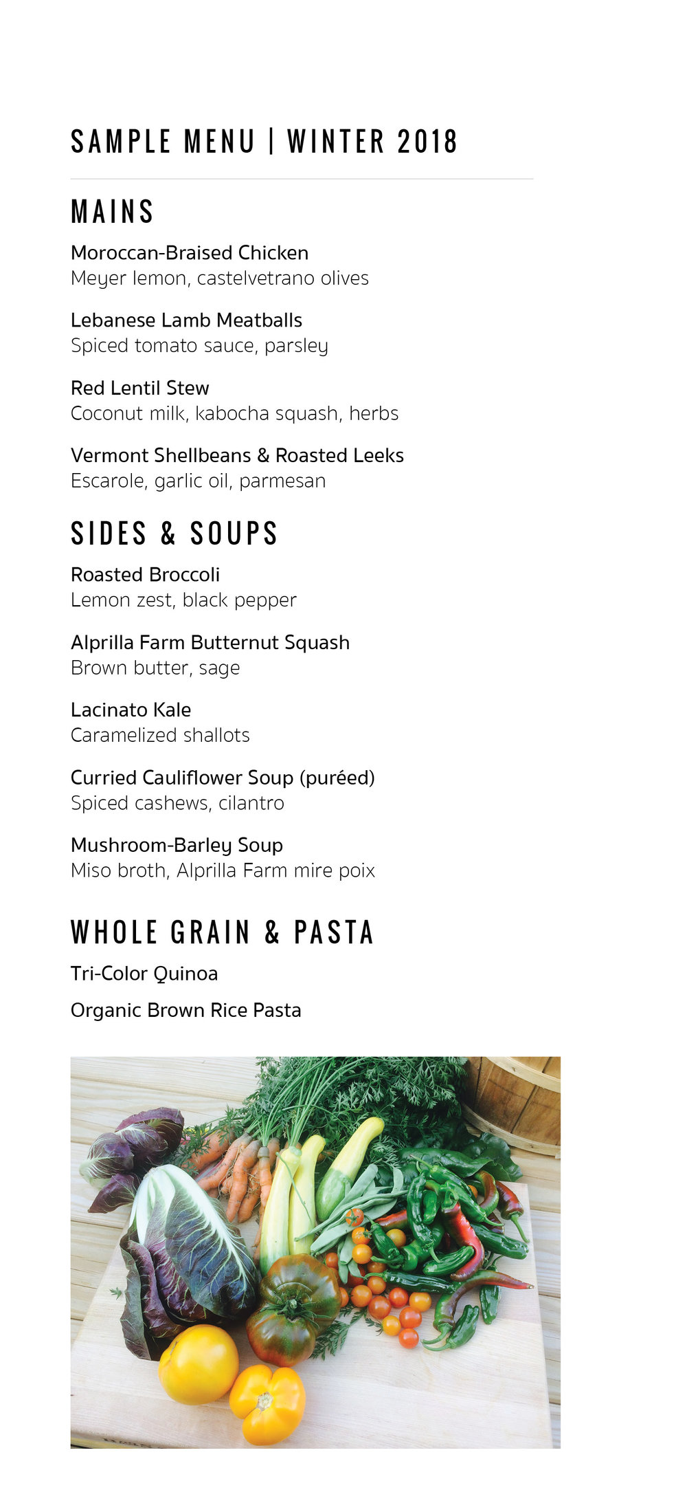 How it Works - Contigo Kitchen offers organic seasonal meal delivery subscriptions. The menu changes weekly, and always emphasizes a healthful selection of mains, sides and soups so that you can mix and match. By default, our menus are mostly gluten free,limit the use of dairy,and offer a variety of plant-based proteins.Many menu items can easily be customized to help make it easier to achieve your own wellness needs and goals.Each Friday a menu like this one is posted with a simple to use form. You've got 24 hours to submit your order online, and meals are delivered to your home or work each Monday evening, between 4:30pm and 7:00pm. Clean containers are picked up with following week's delivery.We use oven/microwave-safe glass containers with BPA-free lids. A refundable container deposit of $150 is due upon first delivery.Meals simply need to be reheated, dressed or garnished. A healthful dinner can be on the table in five minutes (really!). For any pickle little ones in your family, very simple kid-friendly additions are available.Weekly Pricing*Six Meals | $195Eight Meals | $225Ten Meals | $255First Time Trial Meal: Four servings | $65*Individual meals are typically comprised of a main plus two different sides. Subscribers can opt out of up to two weekly orders each subscription.