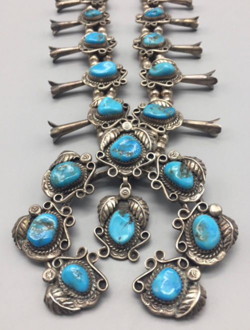 d2fd0a4b0 Vintage Turquoise & Sterling Silver Squash Blossom Necklace *Dead Pawn*  Navajo