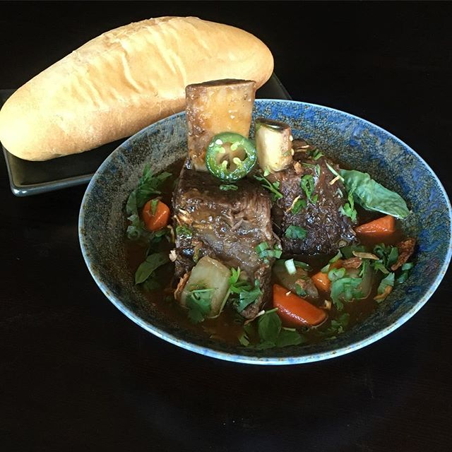 Bo Kho-Vietnamese braised beef  short ribs, turnip, carrot, lemongrass, spiced and red wine with crusty bread. #beef #vietnamesefood