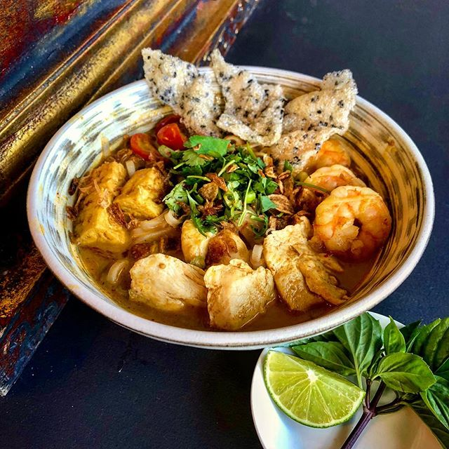 Special tonight-Malaysian Laksa Nooldes! Coconut chicken broth simmer with spices and herbs. Serve with rice noodles, shrimp, tufo, chicken, and sesame rice cracker.  #noodles #asian #laksa #forkyeah #yummy