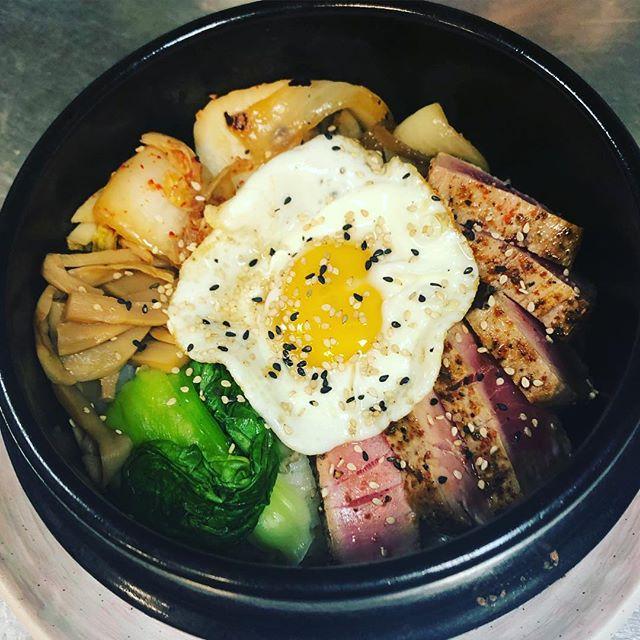 Ahi Bop-clay pot rice, seared yellowfin tuna, house made kim chee, bok choy, #yumyumsauce #korean