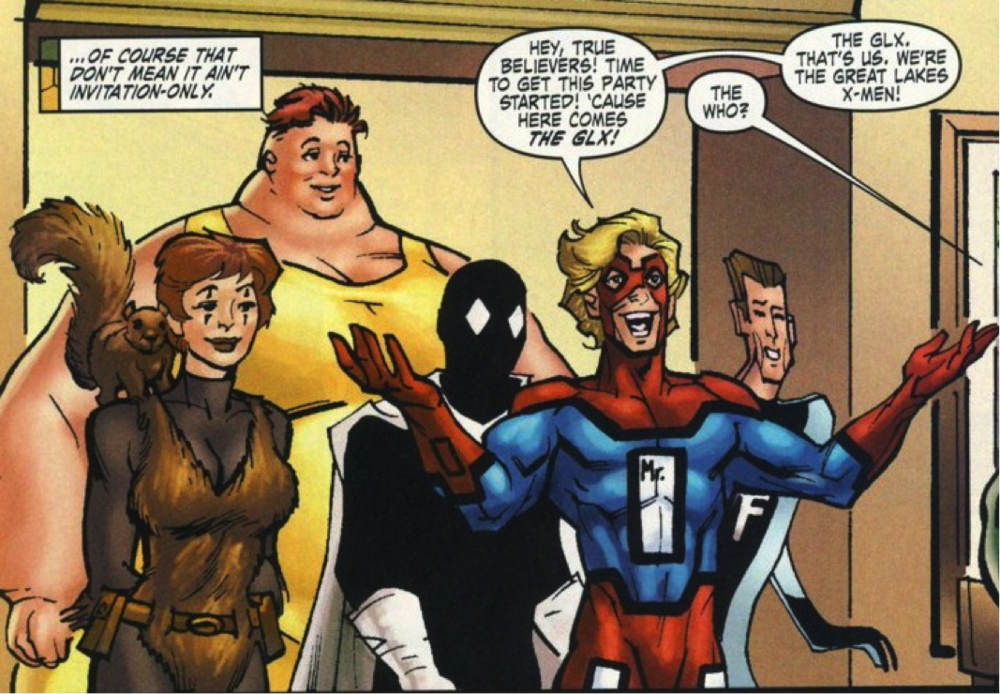 From left to right: Squirrel Girl – Big Bertha – Doorman – Mr. Immortal – Flatman