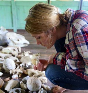 Ayeesha exploring a collection of animal remains in Corcovado National Park, Costa Rica