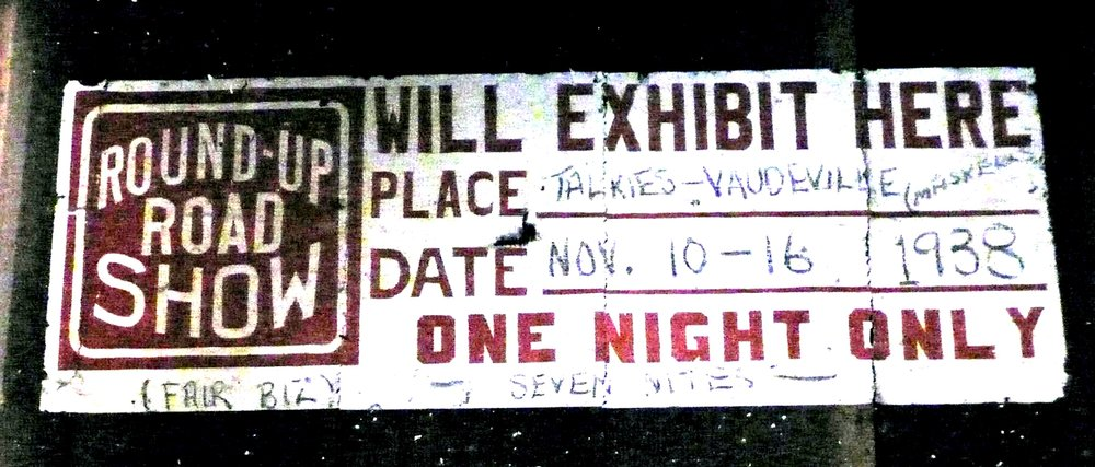 Sign discovered inside stage wall.