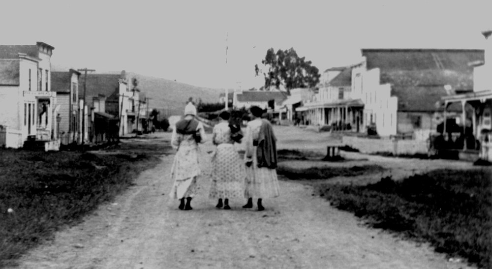 Three women on Maine Street in Tomales c. 1920. Photo: Ella Jorgensen; courtesy Tomales Regional History Center.