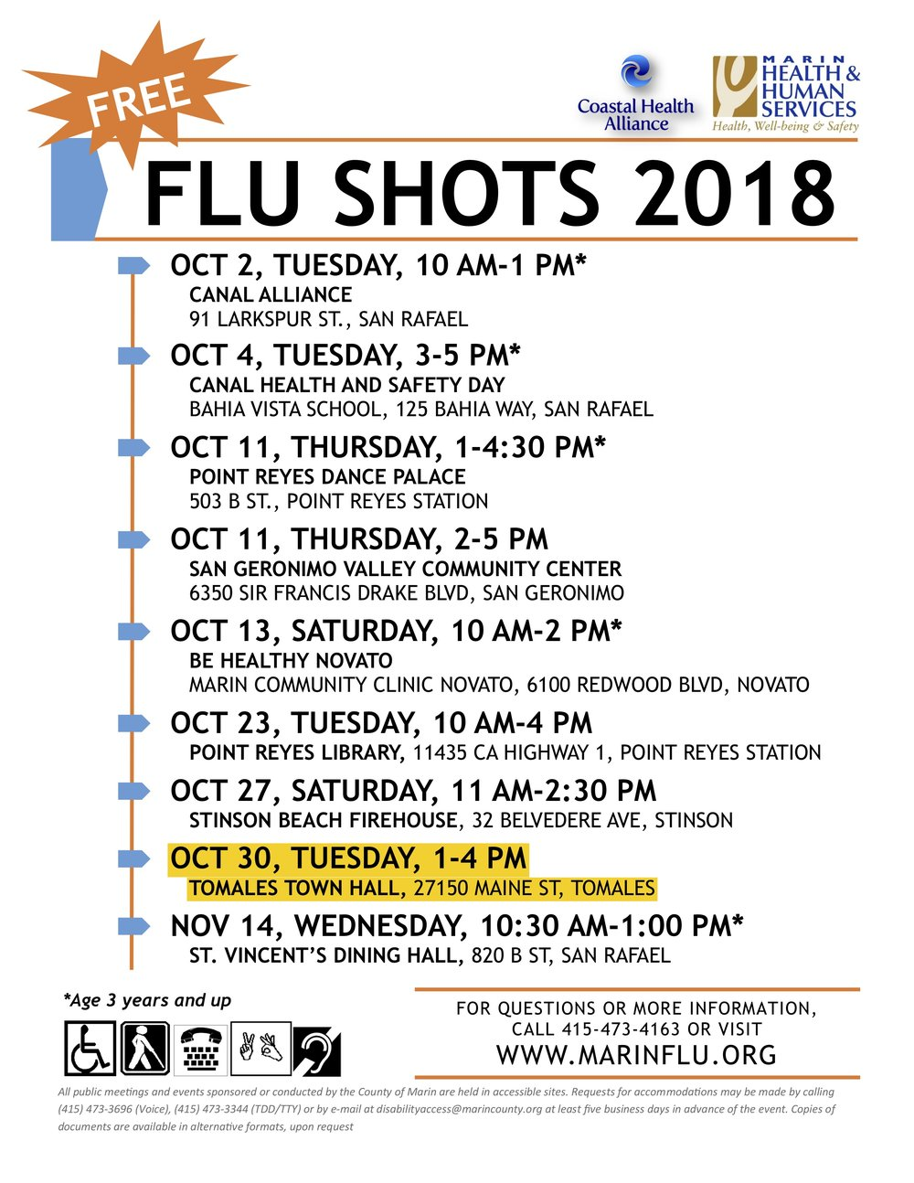 Free Flu Vaccination Clinic Tomales Town Hall