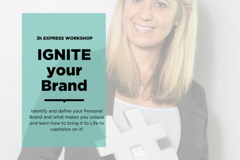 Final 3h Express Workshop 2017: IGNITE YOUR BRAND - You're stuck in what you do or don't feel you bring the fullest Potential to Life? Then this Workshop is for you!In 3h we will define not only your unique Selling Proposition and identify your Differentiator but also show you Strategies to capitalise on it - either within a Corporate Career or as your own Boss.Don't wait for a new Year to come. Make 2018 bigger and better by putting the Pieces in Place NOW.Book your Spot and get ready to IGNITE YOUR BRAND