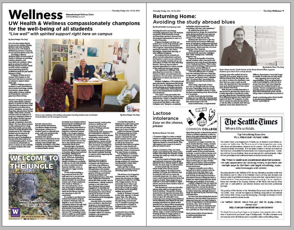 """A mock-up of the Wellness section page from Autumn 2016 - this section included a feature on the UW Study Abroad Office and the bimonthly column """"Common College,"""" which focused on health conditions that commonly impacted college students."""