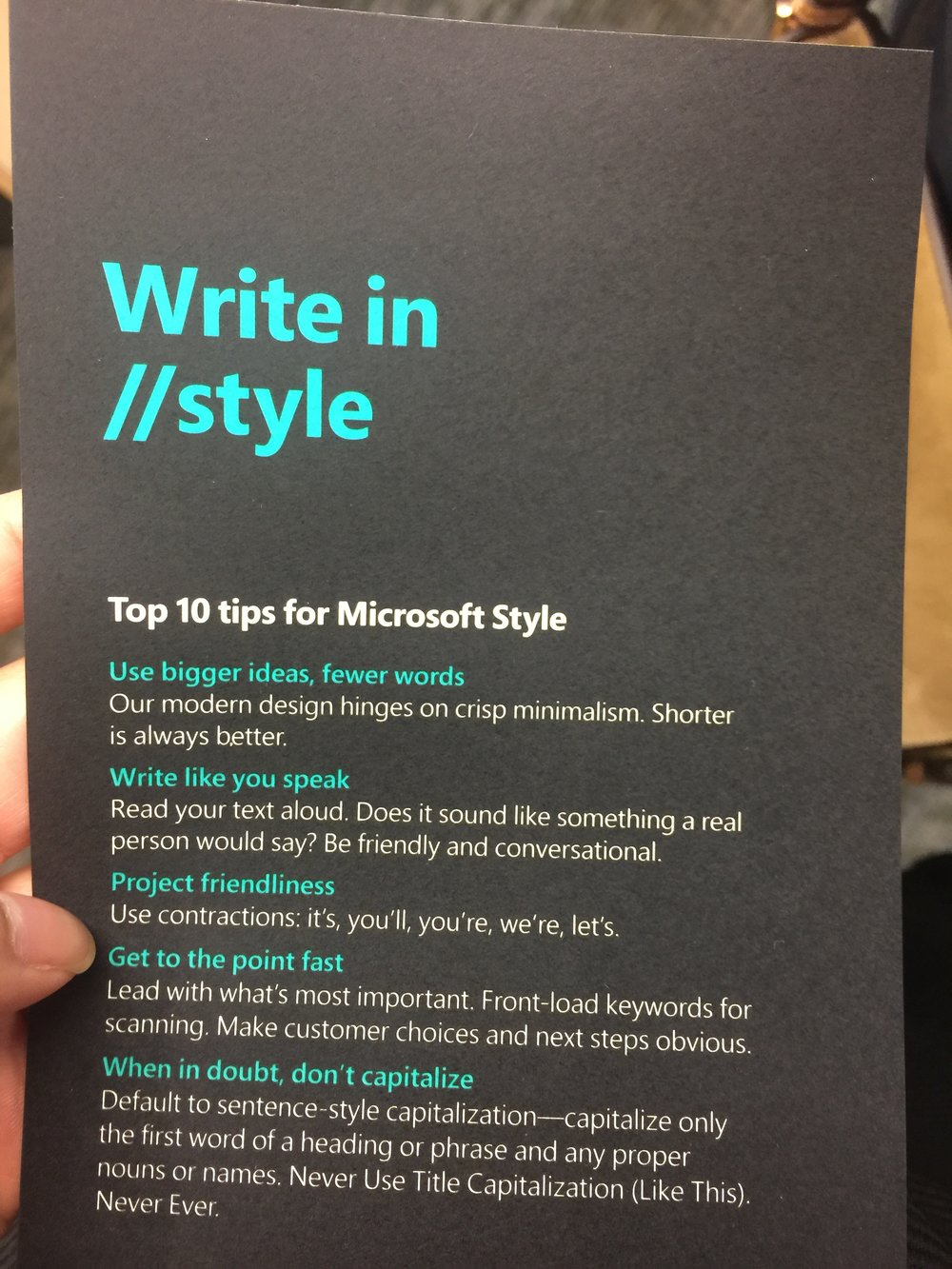 Flyer with Top 10 tips for Microsoft style