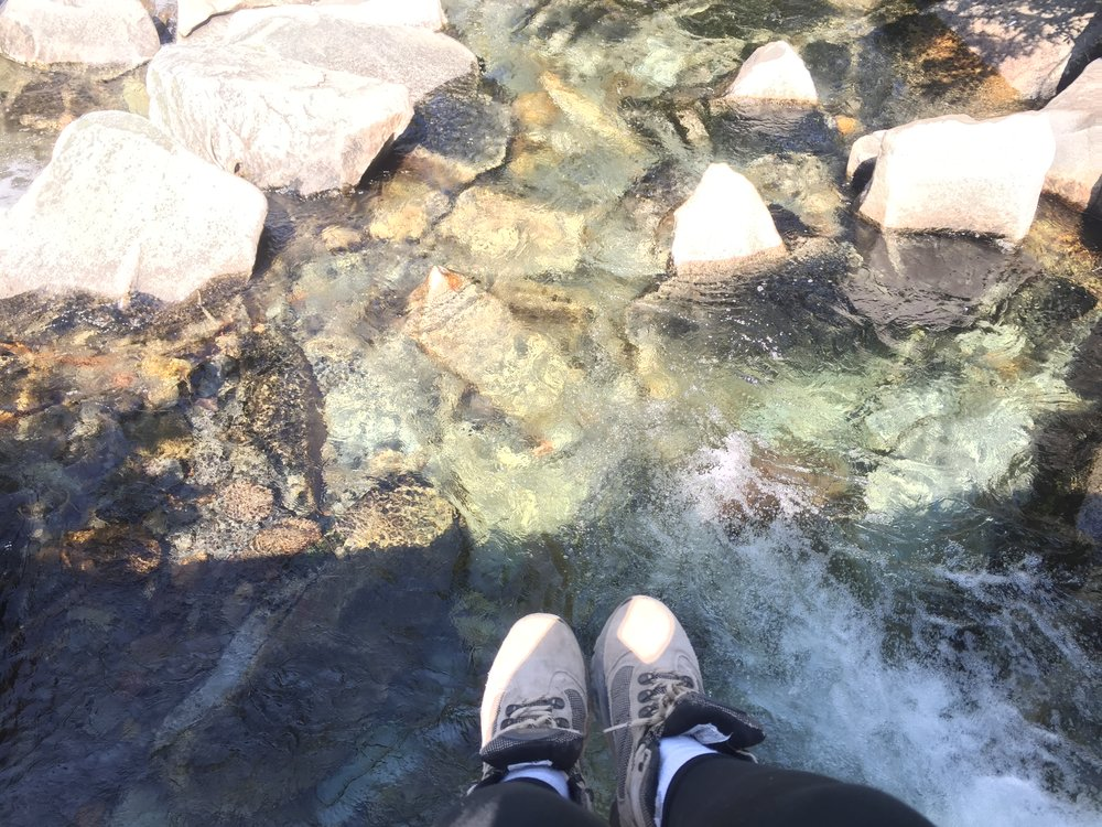 Being where my feet are | We found a beautiful creek on the way back - In this moment, I was listening to a podcast from Invisibilia about the way that we get into our routines, and the way value of reintroducing novelty into our lives.
