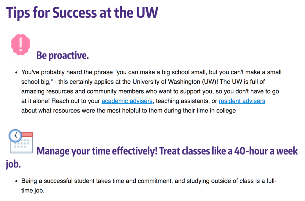 Screenshot of the Tips for Success at the UW page on the ASP website