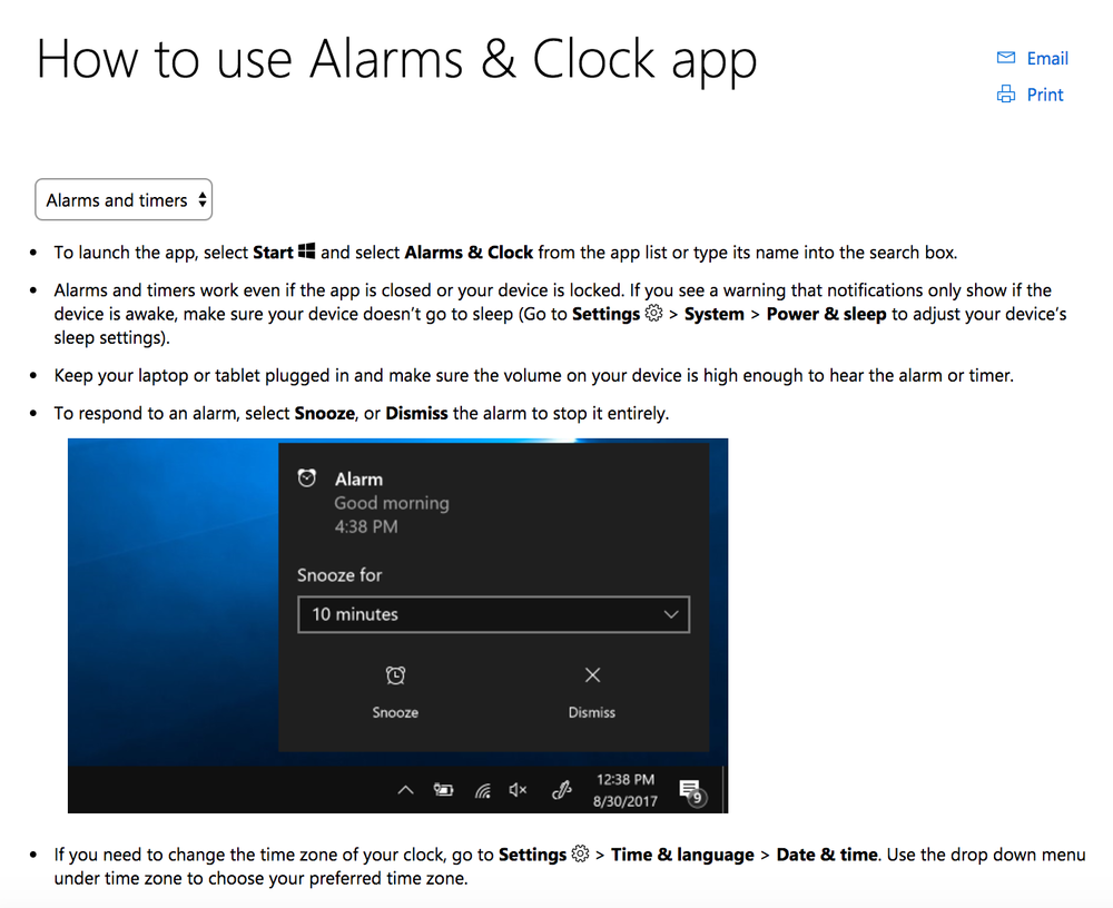 Microsoft Support Content on the Alarms & Clock app. I added the steps that explain how to 1) open the app, 2) disable the alarm, and 3) change the time zone to address verbatim comments about these topics ( https://support.microsoft.com/en-au/help/4026379/windows-10-how-to-use-alarms-clock-app)
