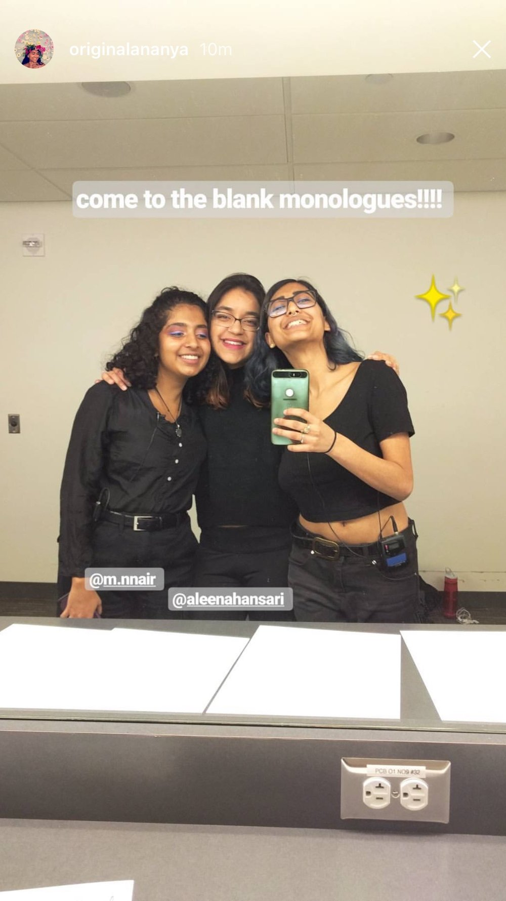 A photo of my mentees and me before the Blank Monologues!