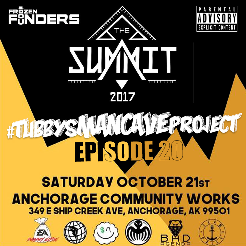 "Episode 20 - This is a special episode of #TubbysManCaveProject in conjunction with Frozen Founders and their upcoming event this Saturday, October 21st, ""The Summit"", an art showcase with live performances from some of the state's greatest and latest artists. I was asked to host this wonderful event so I figured I'd talk about it and play some music from a few of the artists scheduled to perform.  Episode 20 features music from Choze & Lee Jones, Kayco Daily, DC The Savage & Brain Jonze, Alaska Boi & Tayy Tarantino."