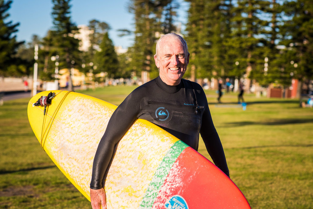 Today is Tony's annual surf in rubber - Might have peaked too soon!