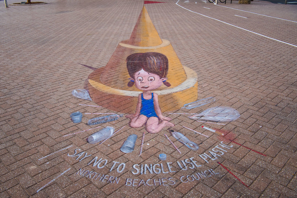 Just Say NO!! -  Clever 3D chalk work on The Corso